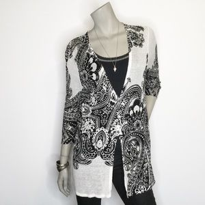 Chico's Size 0 Small Button Floral Sheer Cardigan